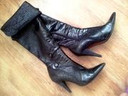 Черные кожаные сапоги-ботфорты.  ZILLE CLASS.  Хорошее состояние. 40 р