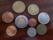Железные монеты  Cent,  Euro,  Zlotych
